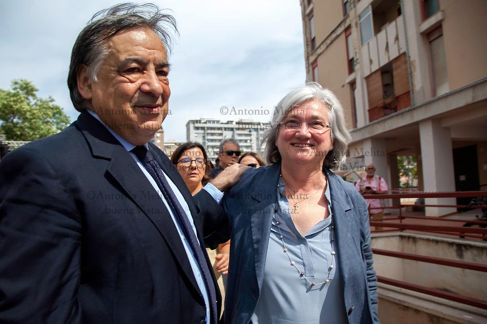 Rosi Bindi, Presidente della Commissione Antimafia, e il sindaco di Palermo Leoluca Orlando in via D'Amelio in occasione del 25° anniversario dell'uccisione di Paolo Borsellino