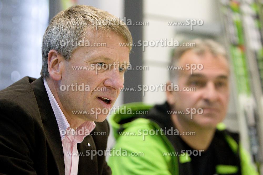 General Manager of ELAN dr. Robert Ferko and Toni Justin at press conference of ELAN on October 26, 2010 in Elan factory, Begunje, Slovenia. (Photo by Vid Ponikvar / Sportida)