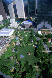 Stock photo of an aerial view of Sam Houston Park in Downtown Houston