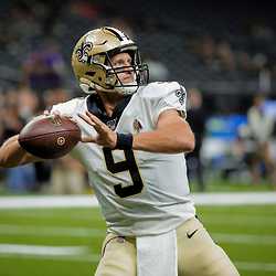 Aug 9, 2019; New Orleans, LA, USA; New Orleans Saints quarterback Drew Brees (9) during warm ups prior to a preseason game against the Minnesota Vikings at the Mercedes-Benz Superdome. Mandatory Credit: Derick E. Hingle-USA TODAY Sports
