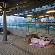 Two homeless people sleep with their collected cardboard under the roofs at the harbour front. It is early morning and the first commuters have not arrived yet and the place is quiete. It is winter time and the nights are cool but dry. 7 million people live on 1,104km square, making it Hong Kong the most vertical city in the world.