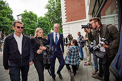 © Licensed to London News Pictures. 03/07/2017. London, UK. RICHARD BOATH (centre) arrives at Westminster Magistrates Court in London where he is charged with conspiracy to commit fraud. Barclays executives John Varley, Roger Jenkins, Thomas Kalaris and Richard Boath were charged by the Serious Fraud Office following events that took place at the height of the financial crisis, when Barclays avoided a taxpayer bailout by raising £11. 8bn in emergency funds from a number of major investors, including Qatar. Photo credit: Ben Cawthra/LNP