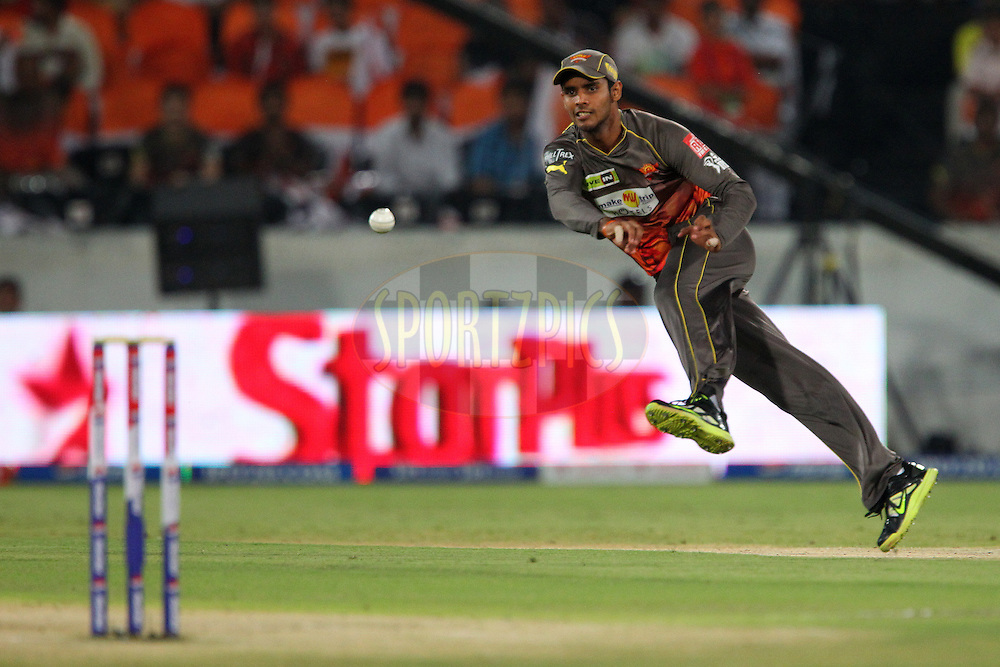 Hanuma Vihari tries to run out Murali Vijay during match 54 of the Pepsi Indian Premier League between The Sunrisers Hyderabad and Chennai Superkings held at the Rajiv Gandhi International  Stadium, Hyderabad  on the 8th May 2013..Photo by Ron Gaunt-IPL-SPORTZPICS ..Use of this image is subject to the terms and conditions as outlined by the BCCI. These terms can be found by following this link:..http://www.sportzpics.co.za/image/I0000SoRagM2cIEc
