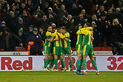 Goal celebration by West Bromwich Albion defender Kieran Gibbs (3)  during the EFL Sky Bet Championship match between Sheffield United and West Bromwich Albion at Bramall Lane, Sheffield, England on 14 December 2018.