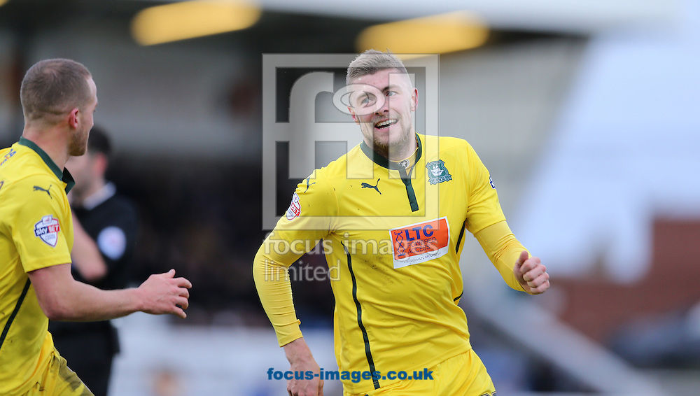 Ryan Brunt (r) of Plymouth Argyle celebrates scoring the equalizing goal to make it 1-1  during the Sky Bet League 2 match at Victoria Park, Hartlepool<br /> Picture by Simon Moore/Focus Images Ltd 07807 671782<br /> 31/01/2015