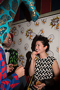 GIANNI GIRAFFE; MILA ASKAROVA,  Gazelli host The Colbert Art Party last night at  LouLou's, The Bauer in Venice, Venice Biennale, Venice. 7 May 2015