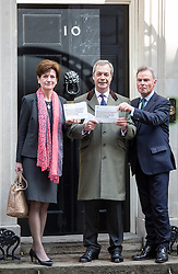 © Licensed to London News Pictures. 15/04/2016. London, UK. UKIP Leader Nigel Farage joins UKIP Deputy Chairman and Home Affairs Spokesman Diane James MEP and Peter Whittle, UKIP's London Mayoral candidate to hand deliver a letter to 10 Downing Street referencing the recent pro-EU Government communication to all UK households. Photo credit : Tom Nicholson/LNP