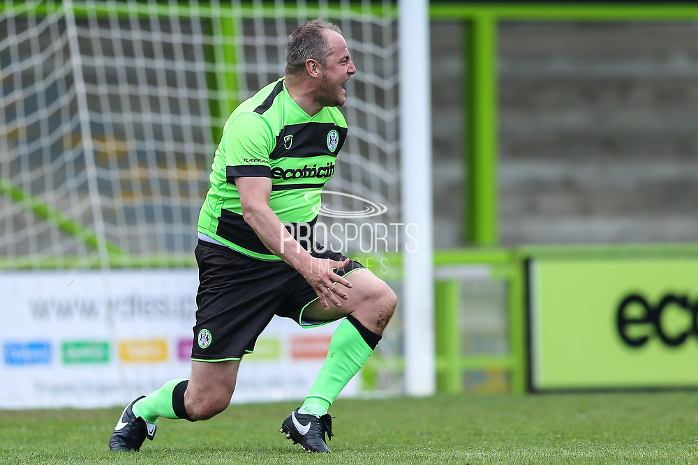 Forest Green Legends Marc McGregor scores a goal scores a goal 2-2 during the Trevor Horsley Memorial Match held at the New Lawn, Forest Green, United Kingdom on 19 May 2019.