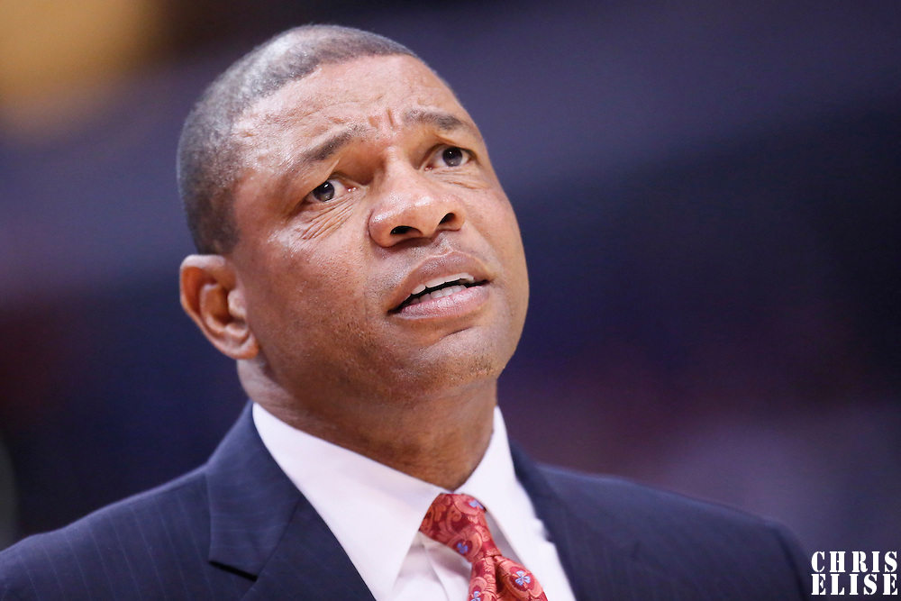 06 January 2014: Los Angeles Clippers head coach Doc Rivers reacts during the Los Angeles Clippers 101-81 victory over the Orlando Magic at the Staples Center, Los Angeles, California, USA.