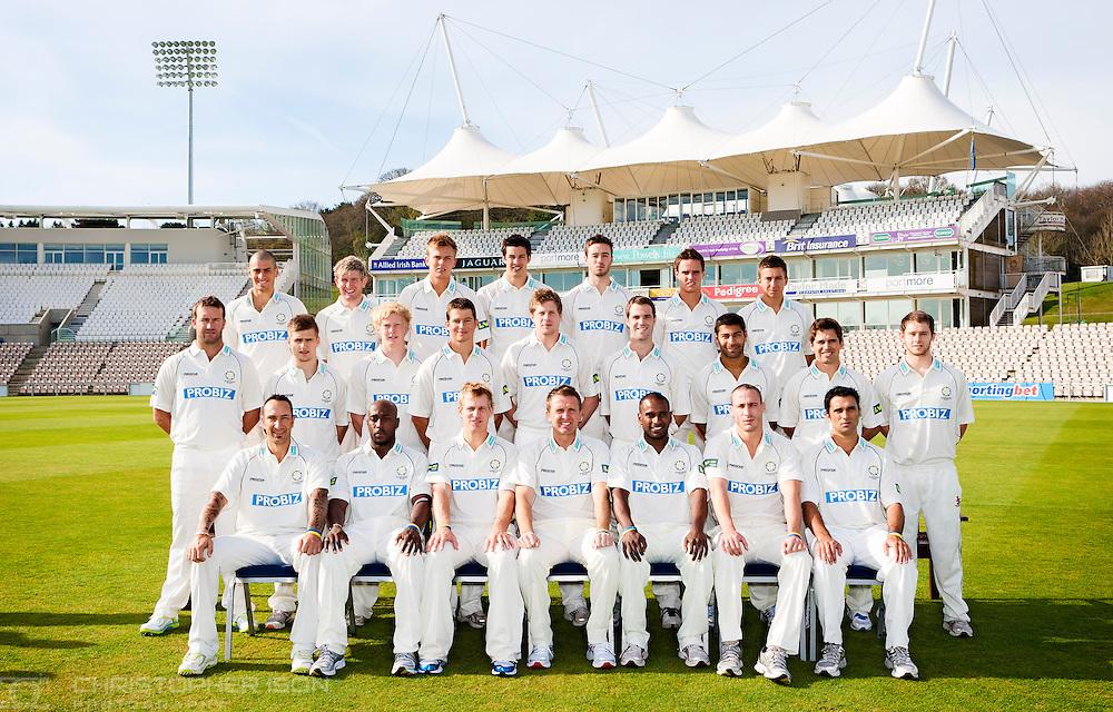 The Hampshire County Cricket squad for the new season at the Ageas Bowl near Southampton.