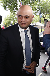 © Licensed to London News Pictures. 15/06/2019. London, UK. Conservative Party leadership candidate Sajid  Javid arrives at a hustings event in central London. The remaining candidates in the leadership race will face a second round of votes in Parliament on Tuesday next week. Photo credit: Peter Macdiarmid/LNP