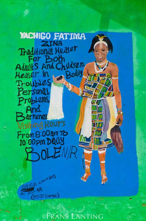 Traditional healer roadside advertisement, Ghana