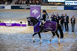 Werth Isabell, GER, <br /> Göteborg - Gothenburg Horse Show 2019 <br /> FEI Dressage World Cup™ Final II<br /> Grand Prix Freestyle/Kür - Prix giving ceremony<br /> Longines FEI Jumping World Cup™ Final and FEI Dressage World Cup™ Final<br /> 06. April 2019<br /> © www.sportfotos-lafrentz.de/Stefan Lafrentz