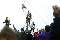 Players of HK Playboy Slavija celebrate after scoring a goal during 5th game of final INL league ice hockey match between HK Playboy Slavija and EHC Bregenwald at Dvorana Zalog, on April 3, 2013, in Ljubljana, Slovenia. (Photo by Matic Klansek Velej / Sportida)