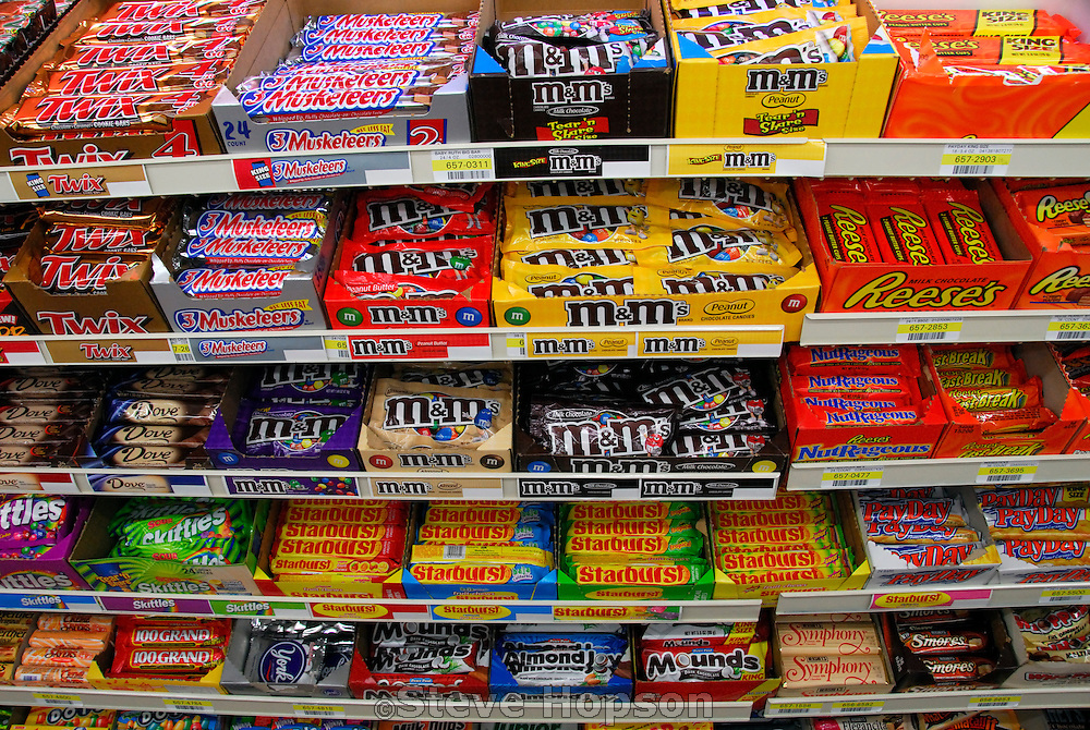 Candy Bars displayed at a convenience store, Austin Texas, June 13, 2007.