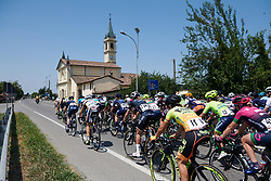 Peloton speed by at Giro Rosa 2018 - Stage 4, a 109 km road race starting and finishing in Piacenza, Italy on July 9, 2018. Photo by Sean Robinson/velofocus.com