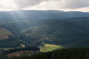 Blick vom Kickelhahn auf Thüringer Wald, Thüringen, Deutschland | view from Kickelhahn on Thuringia forest, Thuringia, Germany