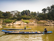 12 MARCH 2016 - LUANG PRABANG, LAOS:  Subsistence fishermen on the Nam Khan River near Luang Prabang. Laos is one of the poorest countries in Southeast Asia. Tourism and hydroelectric dams along the rivers that run through the country are driving the legal economy.      PHOTO BY JACK KURTZ