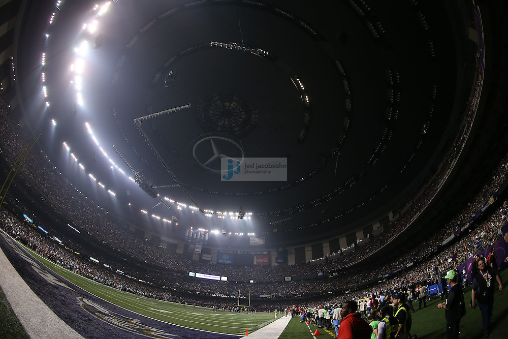 A blackout is shown during the Baltimore Ravens and the the San Francisco 49ers NFL Super Bowl XLVII football game in New Orleans on Feb. 3, 2013. The Ravens won the game, 34-31.  (Photo by Jed Jacobsohn)