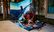 "Ryan McShane and brother Stephen of Ireland are attacked by a killer shark as the ""Trick Eye Experience"" has arrived on the Strip located about several exits of the Monte Carlo on Friday, Jan. 27, 2017.   L.E. Baskow"