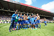 Birmingham City players celebrate staying in the Championship, after the EFL Sky Bet Championship match between Bristol City and Birmingham City at Ashton Gate, Bristol, England on 7 May 2017. Photo by Andrew Lewis.