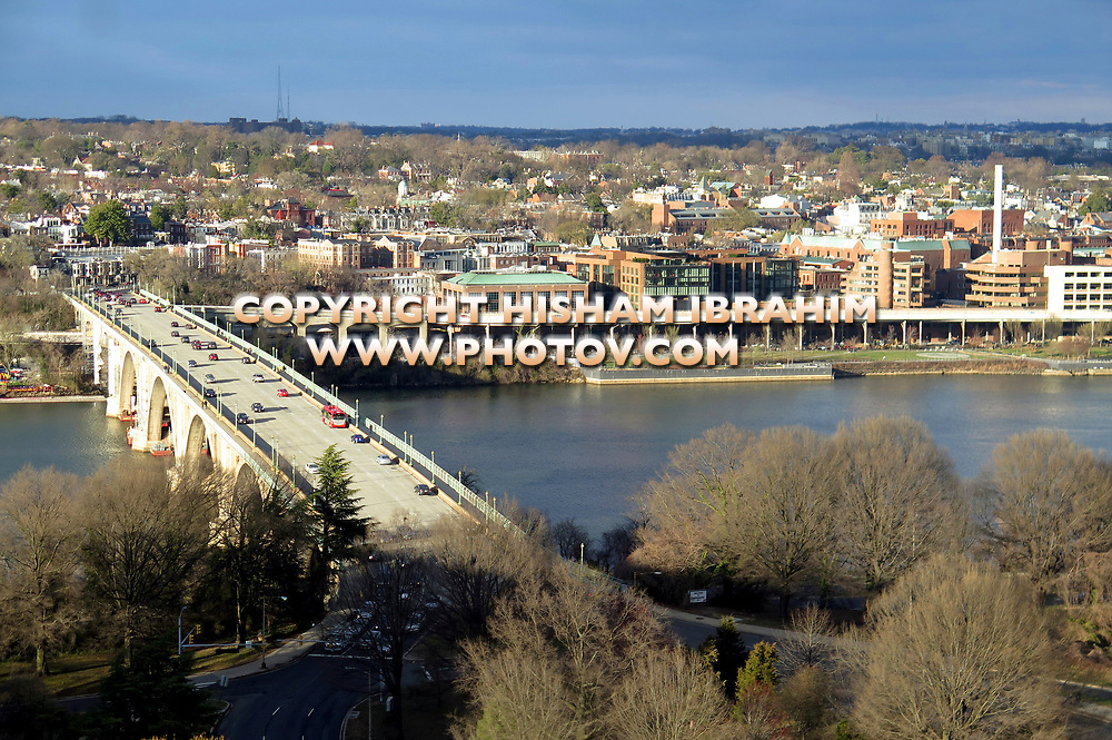 Aerial View of Georgetown Waterfront, Key Bridge, Potomac River and Georgetown Residential District, and Rosslyn area from the Virginia side - Washington DC, USA