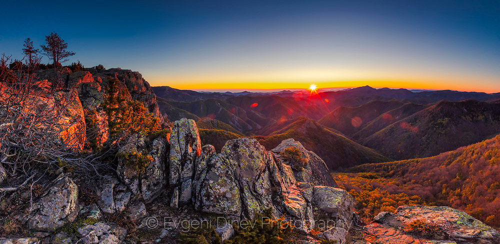Sunny autumn morning in the mountain