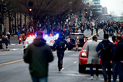 Protests erupt after Donald Trump becomes the 45th President of the United States, on January 20th, 2017, in Washington D.C.