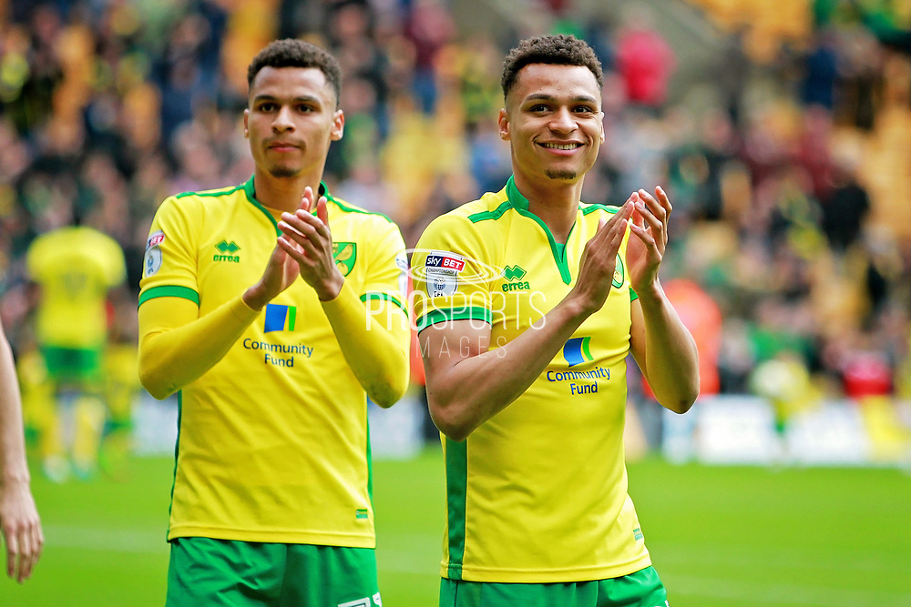 Norwich City midfielder Josh Murphy (31) and his brother Norwich City midfielder Jacob Murphy (22) clap the fans after the EFL Sky Bet Championship match between Norwich City and Queens Park Rangers at Carrow Road, Norwich, England on 7 May 2017. Photo by Nigel Cole.