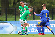 Adam Idah of Republic of Ireland (9) and Barry Coffey of Republic of Ireland (8) run into each other during the UEFA European Under 17 Championship 2018 match between Bosnia and Republic of Ireland at Stadion Bilino Polje, Zenica, Bosnia and Herzegovina on 11 May 2018. Picture by Mick Haynes.
