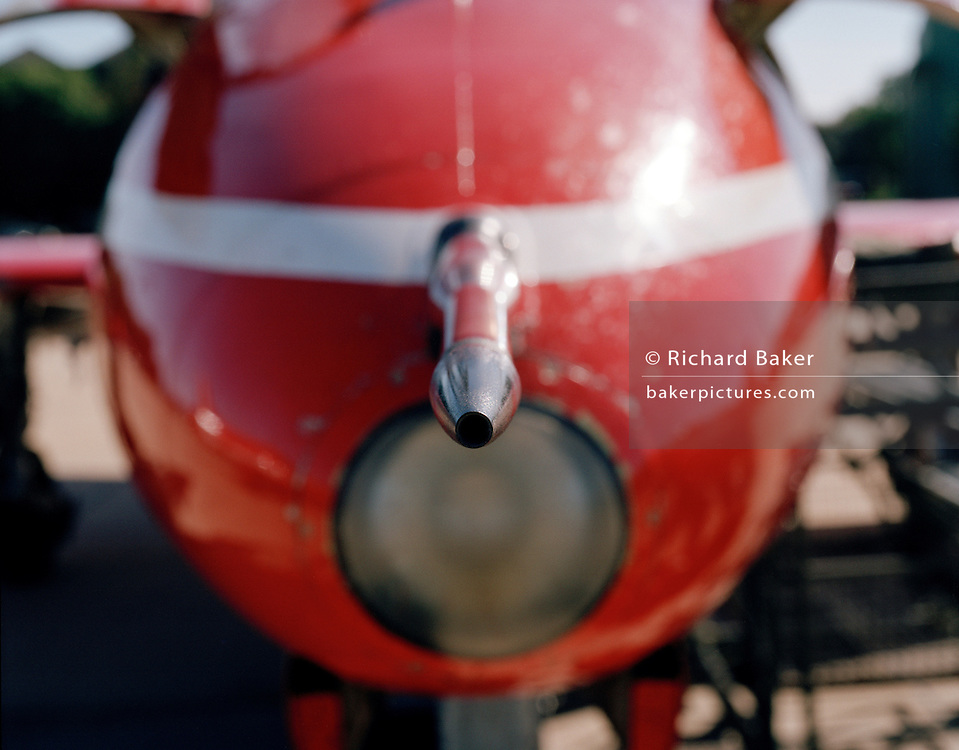 Airspeed pitot tube on nose of BAE Systems Hawk of the Red Arrows, Britain's RAF aerobatic team.