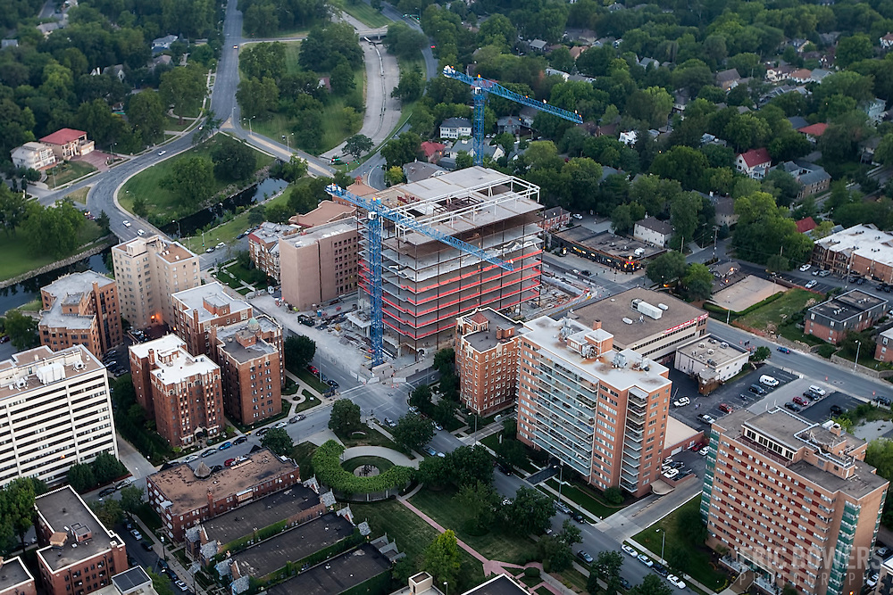 """Aerial photo of the former West Edge site, now """"Plaza Vista"""" also known as 4840 Roanoke, the new headquarters for the Polsinelli Shughart law firm under construction by general contractor JE Dunn on the Country Club Plaza in Kansas City, Missouri."""