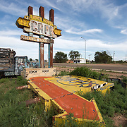 Abandoned Ranch House Cafe sign on Route 66 in Tucumcari, New Mexico