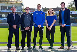 Bristol Rovers Community Trust CEO Adam Sutton, Southmead Project CEO Dr Mike Peirce MBE, Tom Lockyer, Concillor Helen Godwin and Tom Gorringe pose for a photograph as Bristol Rovers announce a new charity partnership with the Southmead Project - Ryan Hiscott/JMP - 22/10/2018 - FOOTBALL - Memorial Stadium - Bristol, England - Bristol Rovers Announce New Charity Partnership Southmead Project