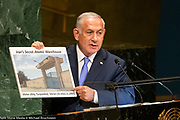 Benjamin Netanyahu, Prime Minister of Israel, speaking at the United Nations General Assembly General Debate at the United Nations in New York City, New York on September 27, 2018