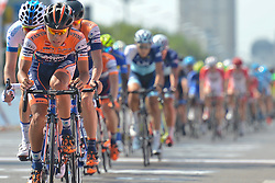 September 9, 2016 - Tianjin, China - Riders during the opening stage of the 2016 edition of Tour of China 1..Wuqing district of Tianjin, the fourth largest city in China, is located in the core of Jingjinji economical circle, also known as Beijing-Tianjin-Hebei, the national capital region region of China, with a distance of 71km from Beijing. .Wuqing, as the national ecological demonstration zone, is largely covered by trees (average 36.4%), and 11 national first and second class rivers, including Beiyun, Longfeng and Yongding river are crossing here. The region also attracted over 250 large firms and corporations listed in Fortune 500 companies..On Friday, 9 September 2016, in Tianjin, China. (Credit Image: © Artur Widak/NurPhoto via ZUMA Press)