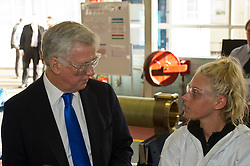 Pictured: Sir Michael Fallon met 2nd year apprentice Carrie Wynne during his tour of MacTaggart Scott.<br /> Today Defence Secretary Sir Michael Fallon visited Midlothian engineering firm MacTaggart Scott which designs, builds and installs lightweight, low-noise hydraulic systems used by the British, US, French, Canadian, Australian and South Korean navies.<br /> Ger Harley | EEm 2 February 2017