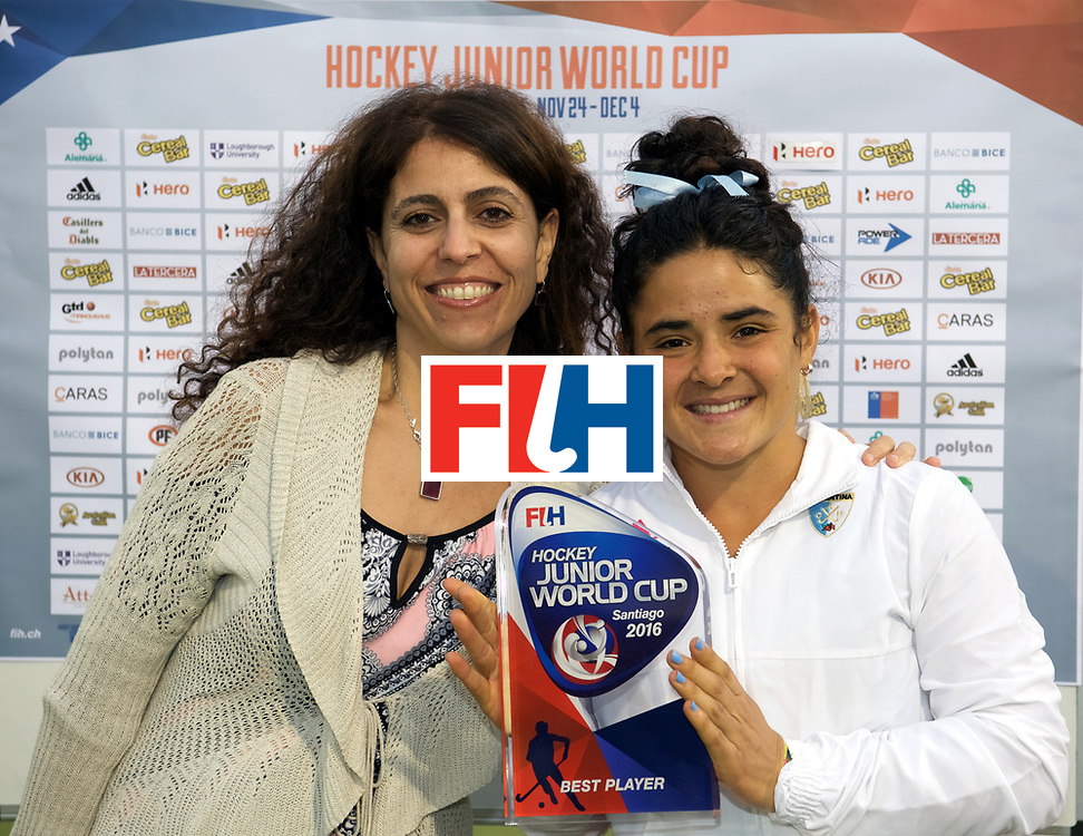 SANTIAGO - 2016 8th Women's Hockey Junior <br /> World Cup<br /> Final NED v ARG (1 / 2 Place)<br /> Argentina wins<br /> Worldchampion<br /> foto: Maria Granatto Best pplayer.<br /> WORLDSPORTPICS COPYRIGHT FRANK UIJLENBROEK