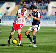 Kilmarnock&rsquo;s Luke Hendrie and Dundee&rsquo;s Faissal El Bakhtaoui - Dundee v Kilmarnock in the Ladbrokes Scottish Premiership at Dens Park, Dundee. Photo: David Young<br /> <br />  - &copy; David Young - www.davidyoungphoto.co.uk - email: davidyoungphoto@gmail.com