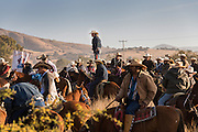 Mexican cowboys gather at a shrine for prayer during the annual Cabalgata de Cristo Rey pilgrimage January 5, 2017 in El Tejaban, Guanajuato, Mexico. Thousands of Mexican cowboys and horse take part in the three-day ride to the mountaintop shrine of Cristo Rey stopping along the way at shrines and churches.