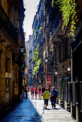 A narrow street in the Gothic Quarter of Barcelona, Catalonia, Spain<br /> <br /> (c) Andrew Wilson | Edinburgh Elite media