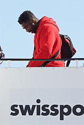 LIVERPOOL, ENGLAND - Monday, May 16, 2016: Liverpool's Kolo Toure and the squad board their plane to Basel as they fly out of Liverpool John Lennon Airport to Switzerland ahead of the UEFA Europa League Final against Sevilla FC. (Pic by David Rawcliffe/Propaganda)