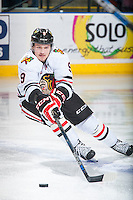 KELOWNA, CANADA - DECEMBER 5: Rihards Bukarts #9 of Portland Winterhawks skates with the puck against the Kelowna Rockets on December 5, 2015 at Prospera Place in Kelowna, British Columbia, Canada.  (Photo by Marissa Baecker/Shoot the Breeze)  *** Local Caption *** Rihards Bukarts;