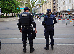 BASEL, SWITZERLAND - Wednesday, May 18, 2016: Heavily armed riot police in Basel before the UEFA Europa League Final at St. Jakob-Park. (Pic by David Rawcliffe/Propaganda)