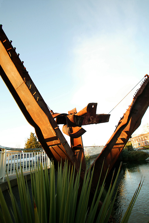Twisted girders made into a sculpture from the remains of the Twin Towers in New York after the terroist attacks on 9/11. The sculpture is displayed in Christchurch, New Zealand. Credit:SNPA / Rob Tucker