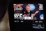 BIRMINGHAM, ENGLAND, NOVEMBER 3, 2011: Chris Leben is pictured on a video monitor at the pre-fight press conference for UFC 138 inside the Hilton Hotel on November 3, 2011.