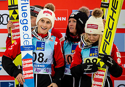 Third placed team of Austria: Lisa Eder of Austria, Eva Pinkelnig of Austria, Jacqueline Seifriedsberger of Austria and Chiara Hoelzl of Austria celebrate during Trophy ceremony after the Team Competition at Day 2 of World Cup Ski Jumping Ladies Ljubno 2019, on February 9, 2019 in Ljubno ob Savinji, Slovenia. Photo by Matic Ritonja / Sportida