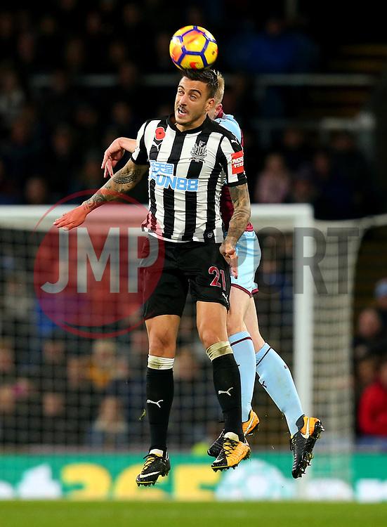 Joselu of Newcastle United heads the ball - Mandatory by-line: Robbie Stephenson/JMP - 30/10/2017 - FOOTBALL - Turf Moor - Burnley, England - Burnley v Newcastle United - Premier League