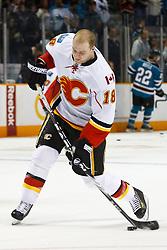 March 23, 2011; San Jose, CA, USA;  Calgary Flames center Matt Stajan (18) warms up before the game against the San Jose Sharks at HP Pavilion. Mandatory Credit: Jason O. Watson / US PRESSWIRE