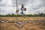 Makeshift memorial for a fracking industry truck driver who died in Carrizo Spring Texas, in the Eagle Ford Shale, behind the wheel of a truck.